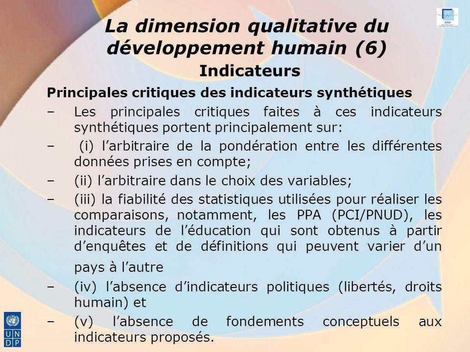 La dimension qualitative du développement humain (6) Indicateurs Principales critiques des indicateurs synthétiques –Les principales critiques faites à ces indicateurs synthétiques portent principalement sur: – (i) larbitraire de la pondération entre les différentes données prises en compte; –(ii) larbitraire dans le choix des variables; –(iii) la fiabilité des statistiques utilisées pour réaliser les comparaisons, notamment, les PPA (PCI/PNUD), les indicateurs de léducation qui sont obtenus à partir denquêtes et de définitions qui peuvent varier dun pays à lautre –(iv) labsence dindicateurs politiques (libertés, droits humain) et –(v) labsence de fondements conceptuels aux indicateurs proposés.