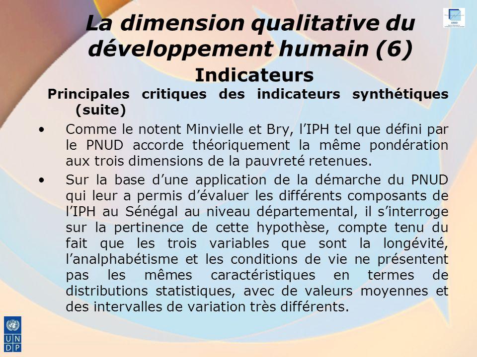 La dimension qualitative du développement humain (6) Indicateurs Principales critiques des indicateurs synthétiques (suite) Comme le notent Minvielle et Bry, lIPH tel que défini par le PNUD accorde théoriquement la même pondération aux trois dimensions de la pauvreté retenues.