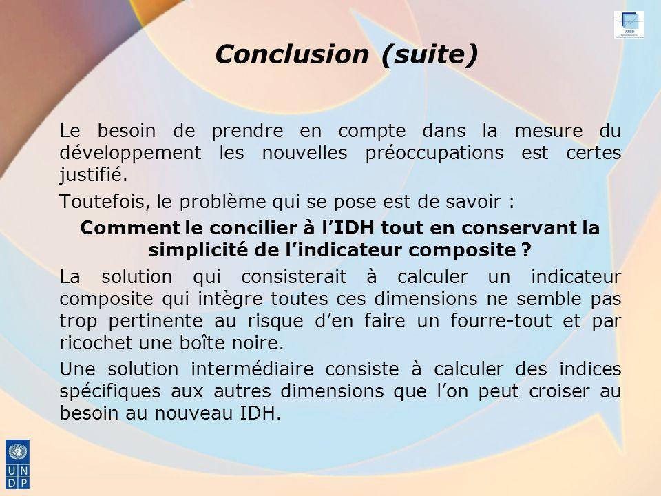 Conclusion (suite) Le besoin de prendre en compte dans la mesure du développement les nouvelles préoccupations est certes justifié.