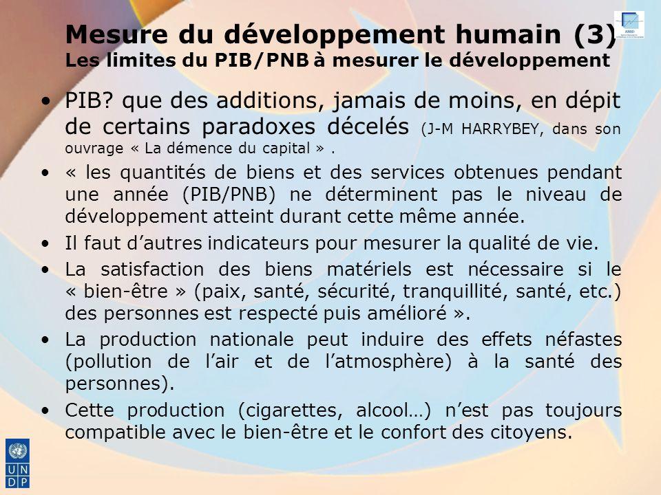 Mesure du développement humain (3) Les limites du PIB/PNB à mesurer le développement PIB.