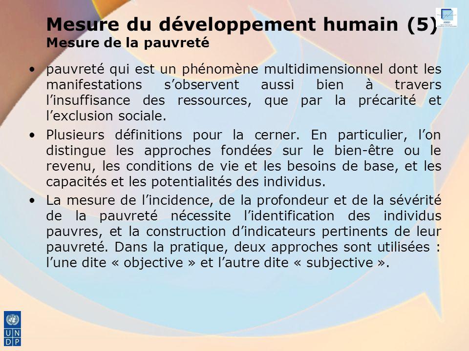 Mesure du développement humain (5) Mesure de la pauvreté pauvreté qui est un phénomène multidimensionnel dont les manifestations sobservent aussi bien à travers linsuffisance des ressources, que par la précarité et lexclusion sociale.