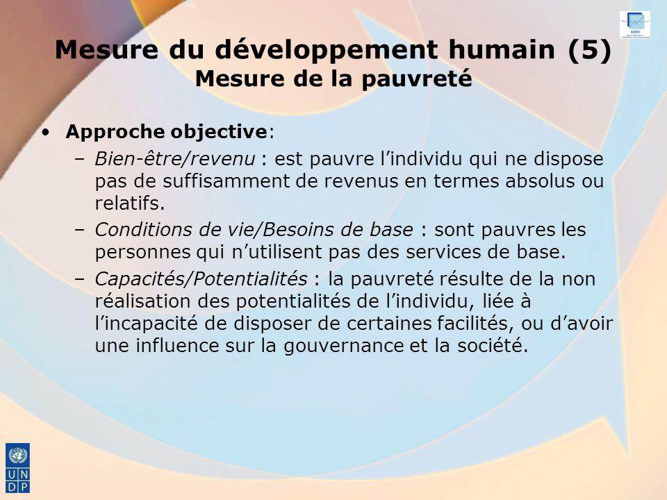 Mesure du développement humain (5) Mesure de la pauvreté Approche objective: –Bien-être/revenu : est pauvre lindividu qui ne dispose pas de suffisamment de revenus en termes absolus ou relatifs.