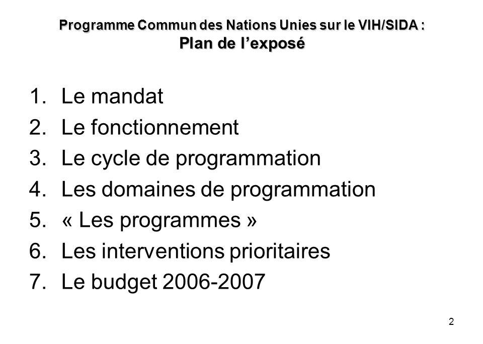 2 Programme Commun des Nations Unies sur le VIH/SIDA : Plan de lexposé 1.Le mandat 2.Le fonctionnement 3.Le cycle de programmation 4.Les domaines de p