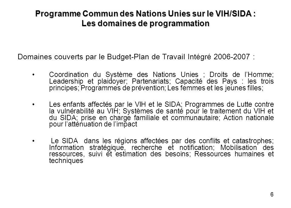 6 Programme Commun des Nations Unies sur le VIH/SIDA : Les domaines de programmation Domaines couverts par le Budget-Plan de Travail Intégré 2006-2007