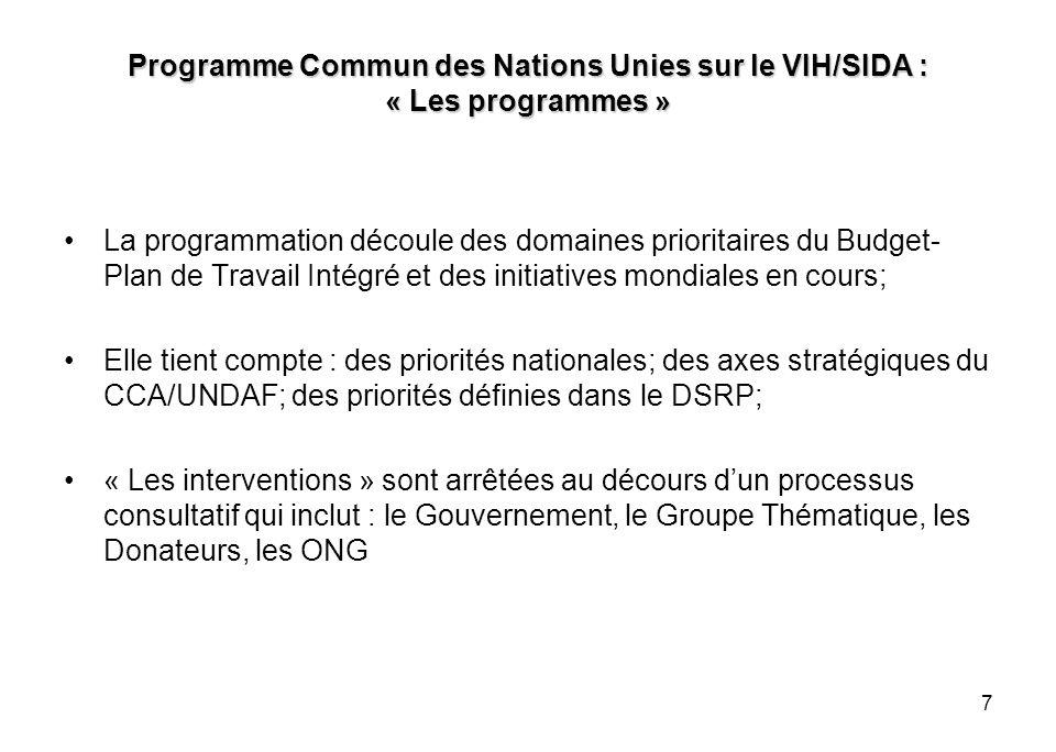 7 Programme Commun des Nations Unies sur le VIH/SIDA : « Les programmes » La programmation découle des domaines prioritaires du Budget- Plan de Travail Intégré et des initiatives mondiales en cours; Elle tient compte : des priorités nationales; des axes stratégiques du CCA/UNDAF; des priorités définies dans le DSRP; « Les interventions » sont arrêtées au décours dun processus consultatif qui inclut : le Gouvernement, le Groupe Thématique, les Donateurs, les ONG