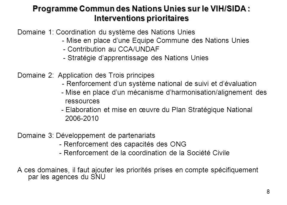 8 Programme Commun des Nations Unies sur le VIH/SIDA : Interventions prioritaires Domaine 1: Coordination du système des Nations Unies - Mise en place
