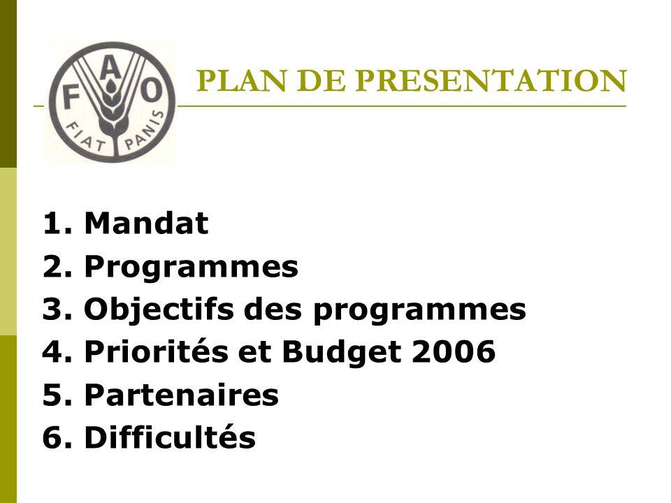 PLAN DE PRESENTATION 1. Mandat 2. Programmes 3. Objectifs des programmes 4.