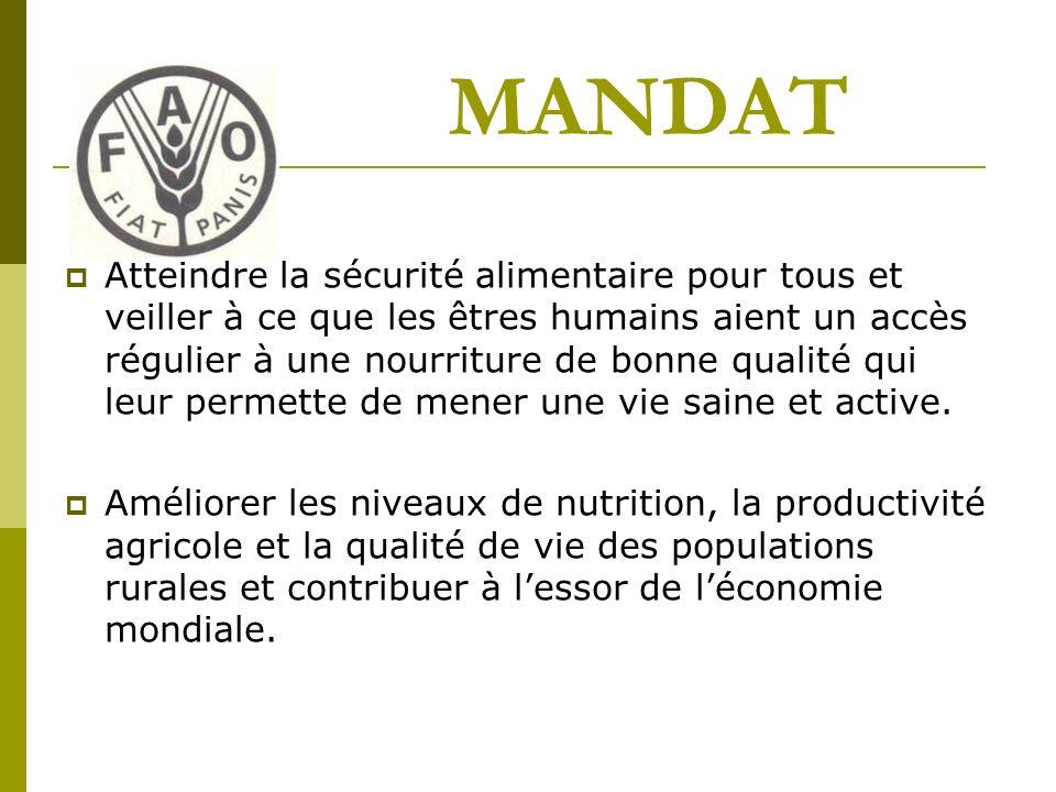MANDAT Atteindre la sécurité alimentaire pour tous et veiller à ce que les êtres humains aient un accès régulier à une nourriture de bonne qualité qui leur permette de mener une vie saine et active.