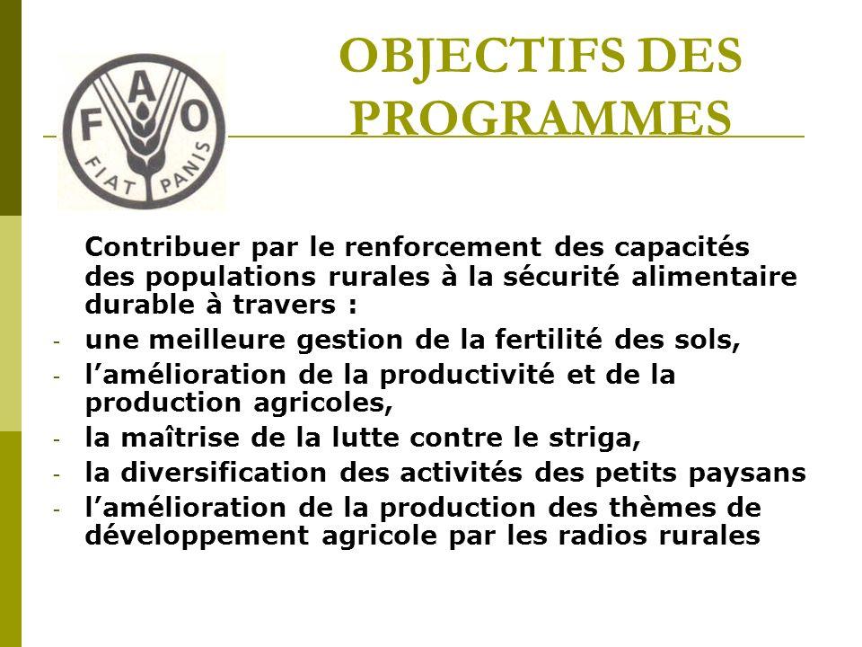 OBJECTIFS DES PROGRAMMES Contribuer par le renforcement des capacités des populations rurales à la sécurité alimentaire durable à travers : - une meilleure gestion de la fertilité des sols, - lamélioration de la productivité et de la production agricoles, - la maîtrise de la lutte contre le striga, - la diversification des activités des petits paysans - lamélioration de la production des thèmes de développement agricole par les radios rurales