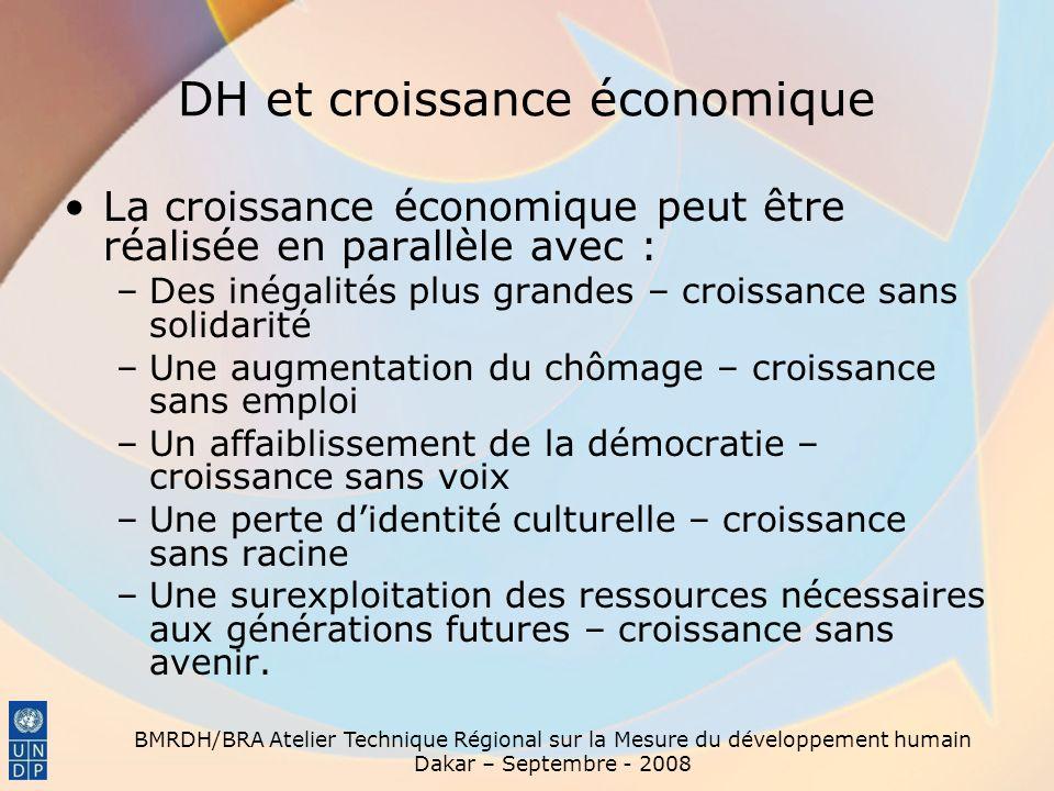BMRDH/BRA Atelier Technique Régional sur la Mesure du développement humain Dakar – Septembre - 2008 DH et croissance économique La croissance économiq