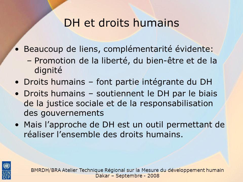 BMRDH/BRA Atelier Technique Régional sur la Mesure du développement humain Dakar – Septembre - 2008 DH et droits humains Beaucoup de liens, complément