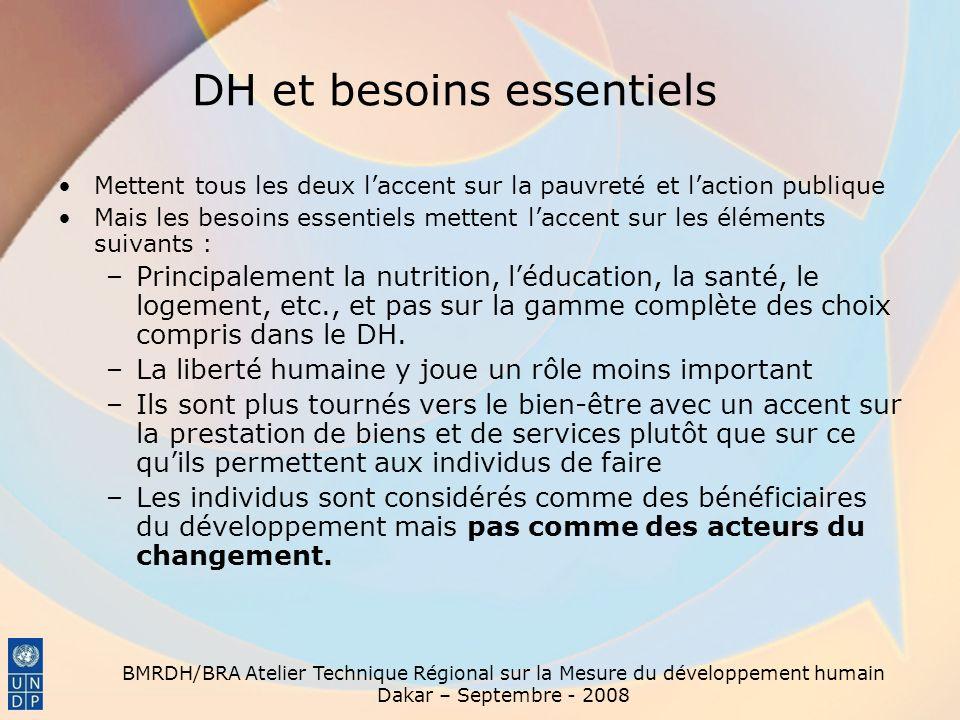 BMRDH/BRA Atelier Technique Régional sur la Mesure du développement humain Dakar – Septembre - 2008 DH et besoins essentiels Mettent tous les deux lac
