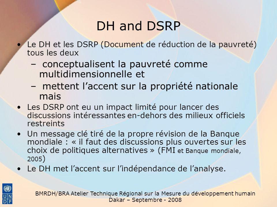 BMRDH/BRA Atelier Technique Régional sur la Mesure du développement humain Dakar – Septembre - 2008 DH and DSRP Le DH et les DSRP (Document de réducti