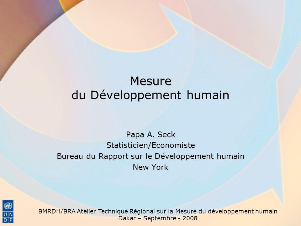 Mesure n Mesure du Développement humain Papa A. Seck Statisticien/Economiste Bureau du Rapport sur le Développement humain New York BMRDH/BRA Atelier