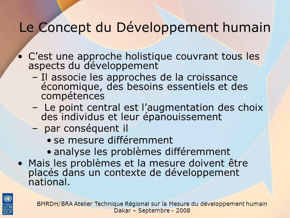 BMRDH/BRA Atelier Technique Régional sur la Mesure du développement humain Dakar – Septembre - 2008 Le Concept du Développement humain Cest une approc
