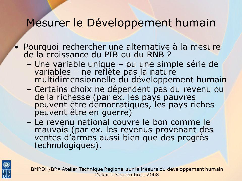 BMRDH/BRA Atelier Technique Régional sur la Mesure du développement humain Dakar – Septembre - 2008 Mesurer le Développement humain Pourquoi recherche