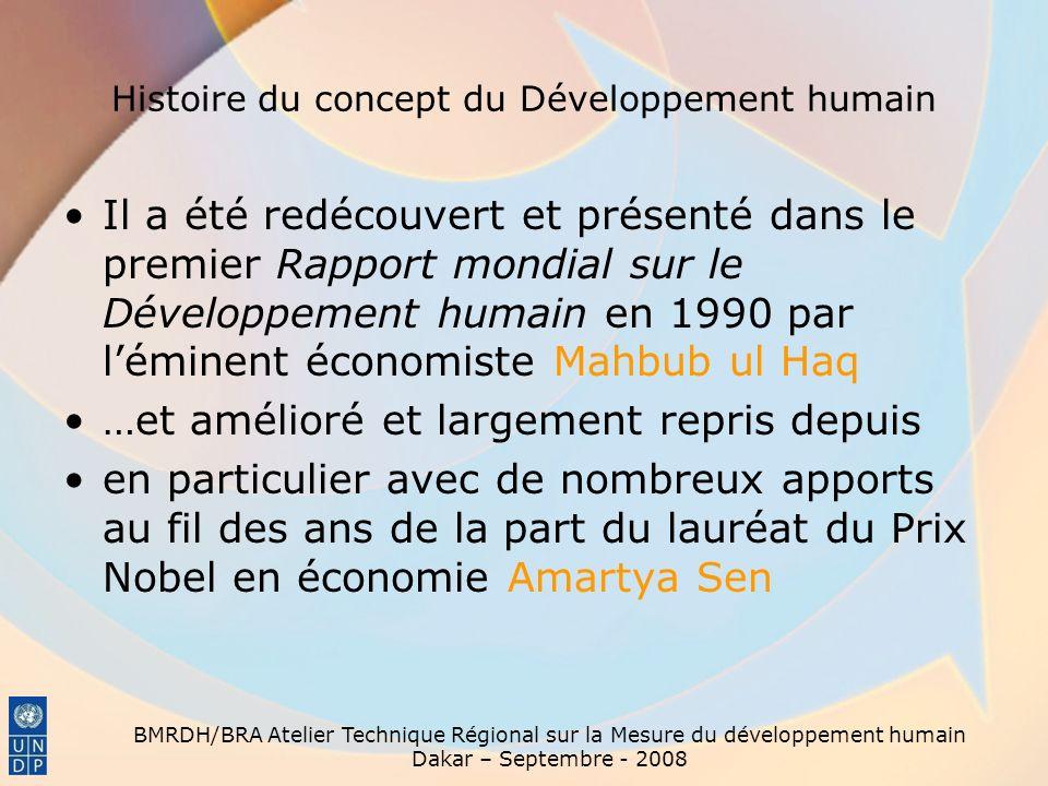 BMRDH/BRA Atelier Technique Régional sur la Mesure du développement humain Dakar – Septembre - 2008 Histoire du concept du Développement humain Il a é