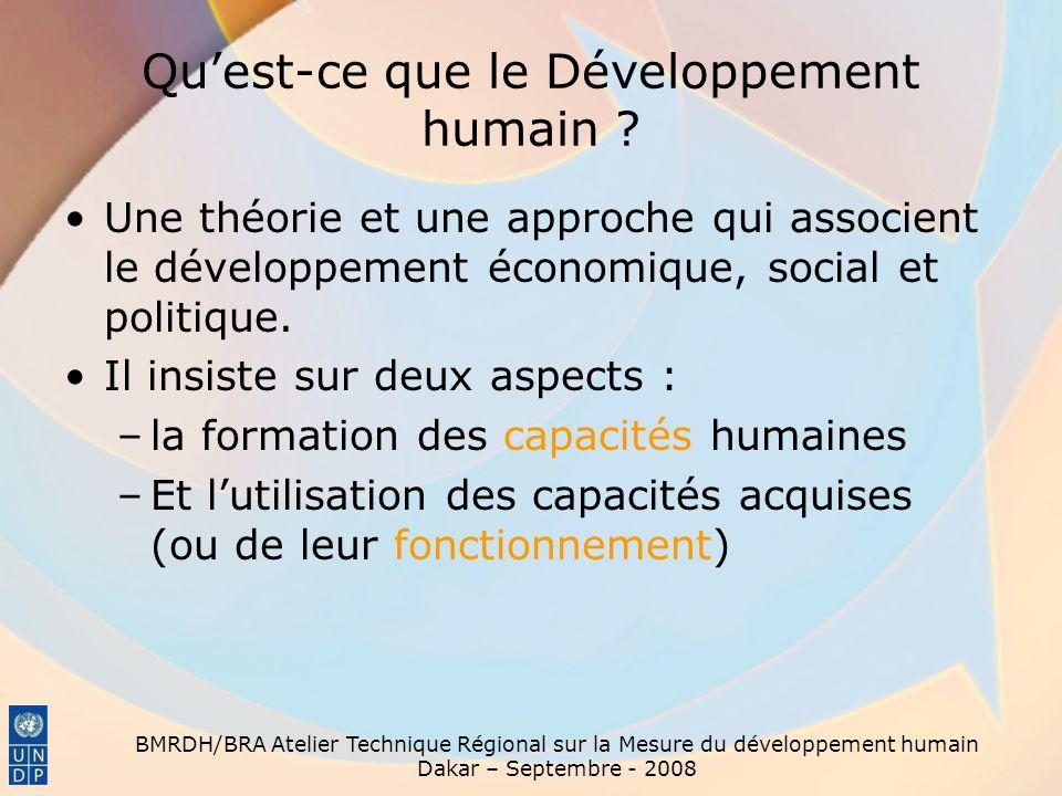 BMRDH/BRA Atelier Technique Régional sur la Mesure du développement humain Dakar – Septembre - 2008 Quest-ce que le Développement humain ? Une théorie