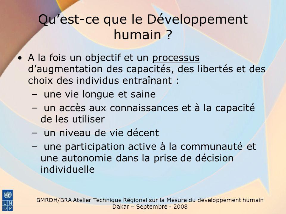 BMRDH/BRA Atelier Technique Régional sur la Mesure du développement humain Dakar – Septembre - 2008 Quest-ce que le Développement humain ? A la fois u
