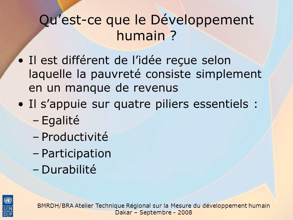 BMRDH/BRA Atelier Technique Régional sur la Mesure du développement humain Dakar – Septembre - 2008 Quest-ce que le Développement humain ? Il est diff