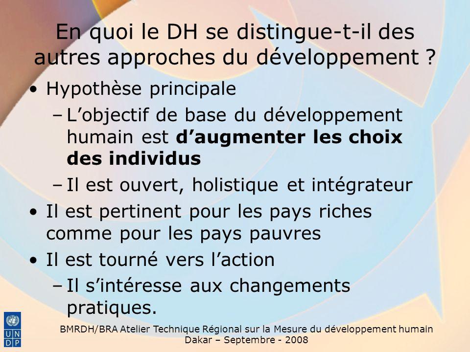 BMRDH/BRA Atelier Technique Régional sur la Mesure du développement humain Dakar – Septembre - 2008 En quoi le DH se distingue-t-il des autres approch