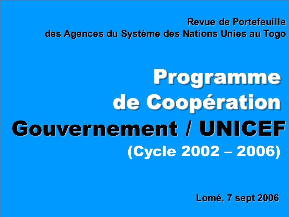 Lomé, 7 sept 2006 Revue de Portefeuille des Agences du Système des Nations Unies au Togo Programme de Coopération Programme Gouvernement / UNICEF (Cycle 2002 – 2006)