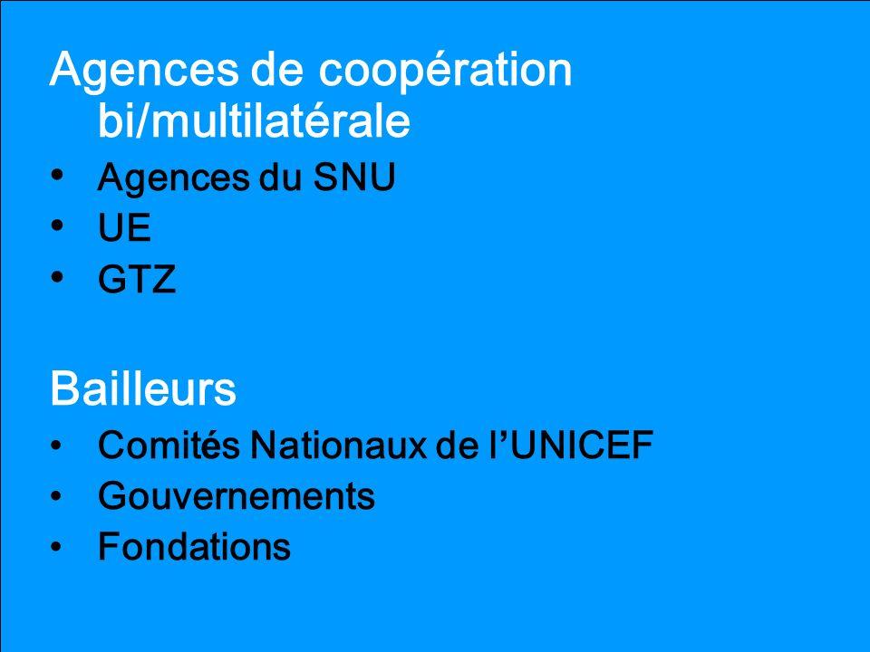 Agences de coopération bi/multilatérale Agences du SNU UE GTZ Bailleurs Comit é s Nationaux de l UNICEF Gouvernements Fondations