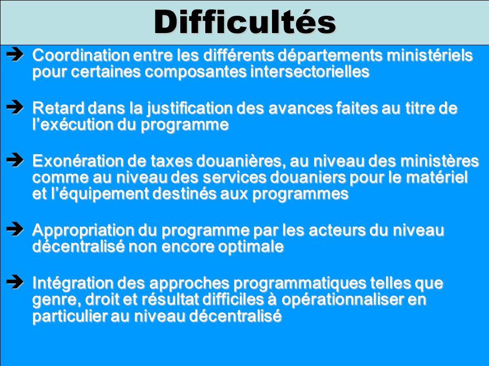 Coordination entre les différents départements ministériels pour certaines composantes intersectorielles Coordination entre les différents département