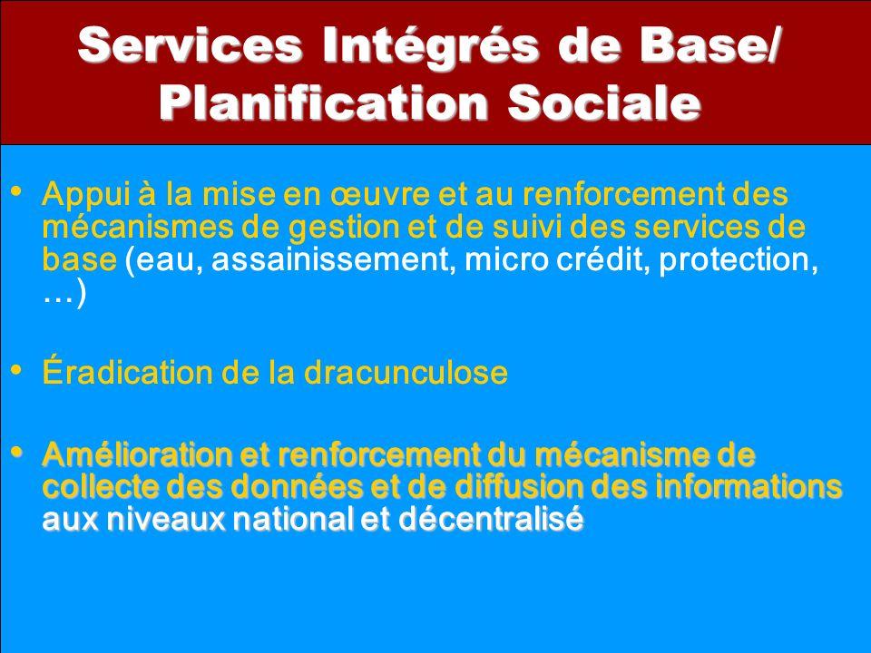 Services Intégrés de Base/ Planification Sociale Appui à la mise en œuvre et au renforcement des mécanismes de gestion et de suivi des services de bas