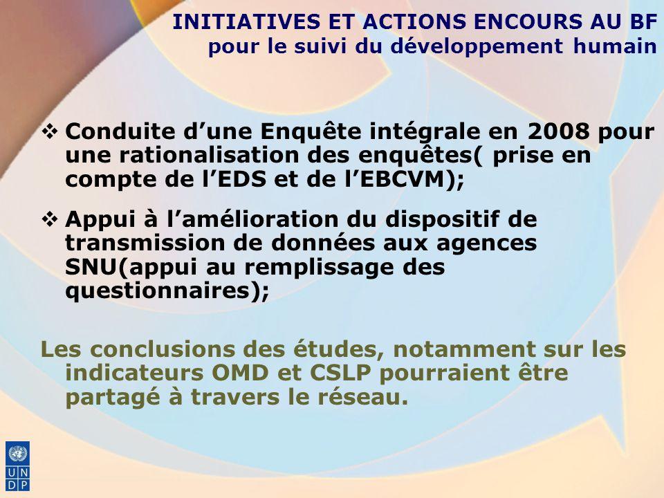 Conduite dune Enquête intégrale en 2008 pour une rationalisation des enquêtes( prise en compte de lEDS et de lEBCVM); Appui à lamélioration du disposi