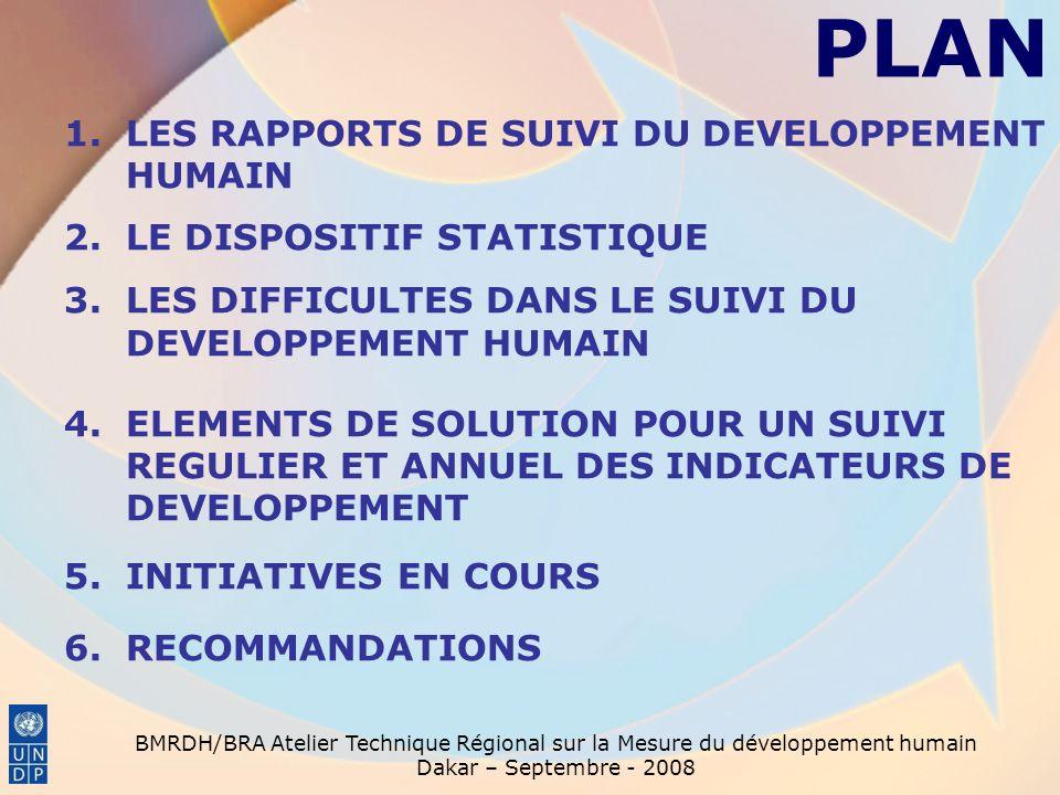 BMRDH/BRA Atelier Technique Régional sur la Mesure du développement humain Dakar – Septembre - 2008 PLAN 1.LES RAPPORTS DE SUIVI DU DEVELOPPEMENT HUMAIN 2.LE DISPOSITIF STATISTIQUE 3.LES DIFFICULTES DANS LE SUIVI DU DEVELOPPEMENT HUMAIN 4.ELEMENTS DE SOLUTION POUR UN SUIVI REGULIER ET ANNUEL DES INDICATEURS DE DEVELOPPEMENT 5.INITIATIVES EN COURS 6.RECOMMANDATIONS