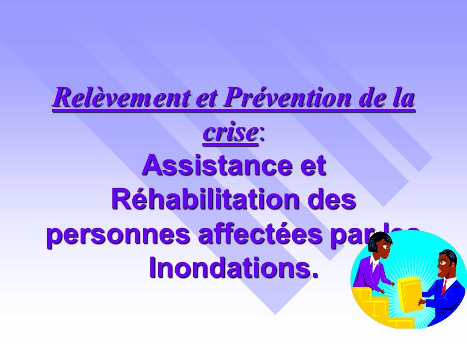 Relèvement et Prévention de la crise: Assistance et Réhabilitation des personnes affectées par les Inondations.