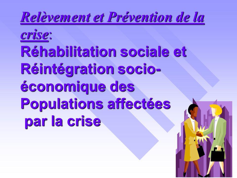 Relèvement et Prévention de la crise: Réhabilitation sociale et Réintégration socio- économique des Populations affectées par la crise