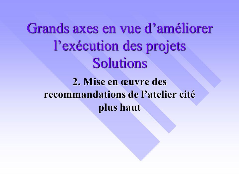 Grands axes en vue daméliorer lexécution des projets Solutions 2.