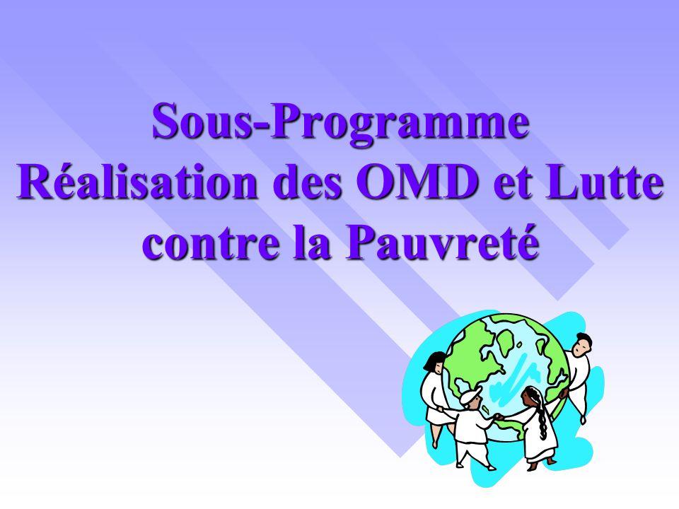 Sous-Programme Réalisation des OMD et Lutte contre la Pauvreté