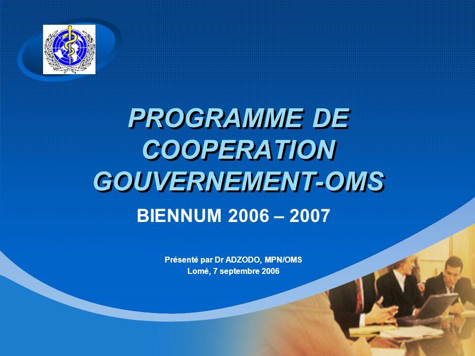 Company LOGO PROGRAMME DE COOPERATION GOUVERNEMENT-OMS BIENNUM 2006 – 2007 Présenté par Dr ADZODO, MPN/OMS Lomé, 7 septembre 2006