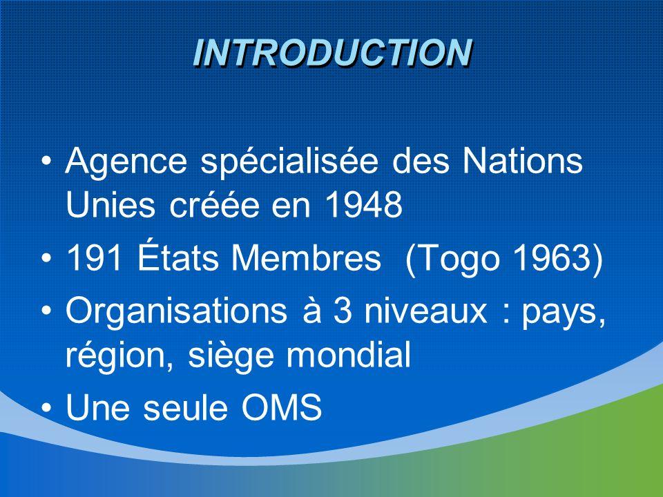 INTRODUCTION Agence spécialisée des Nations Unies créée en 1948 191 États Membres (Togo 1963) Organisations à 3 niveaux : pays, région, siège mondial Une seule OMS