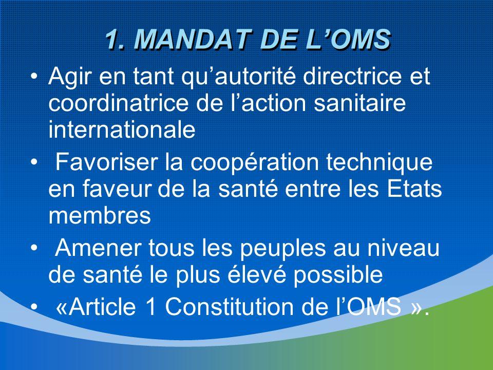 1. MANDAT DE LOMS Agir en tant quautorité directrice et coordinatrice de laction sanitaire internationale Favoriser la coopération technique en faveur