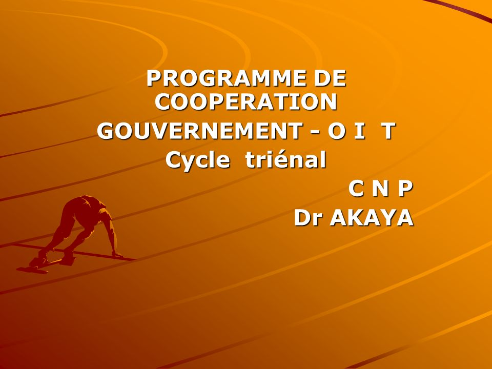 PROGRAMME DE COOPERATION GOUVERNEMENT - O I T Cycle triénal C N P Dr AKAYA