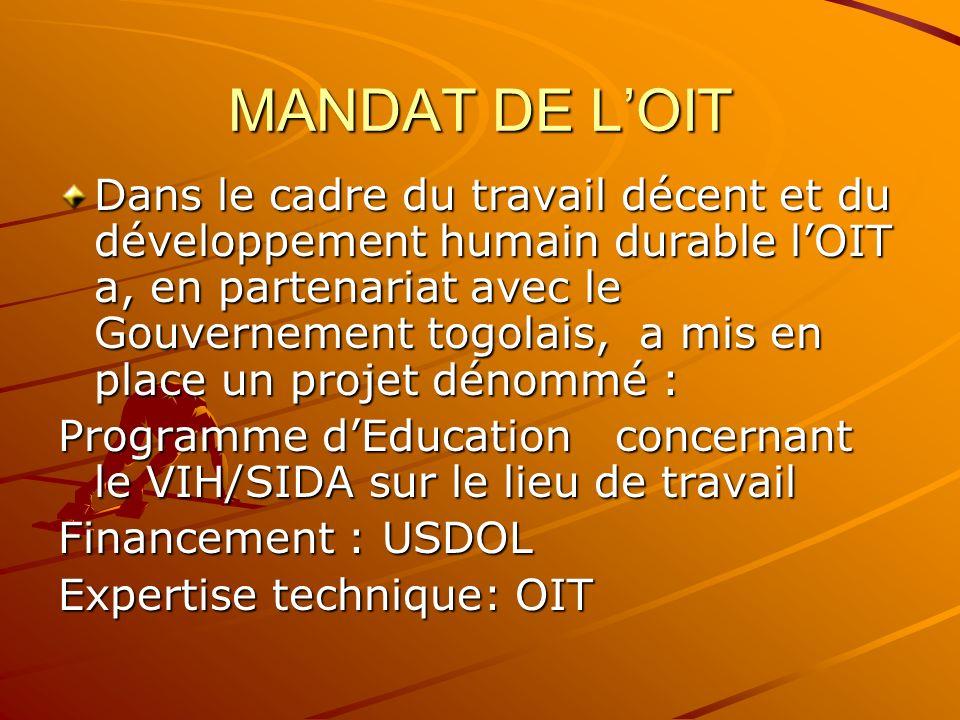 MANDAT DE LOIT Dans le cadre du travail décent et du développement humain durable lOIT a, en partenariat avec le Gouvernement togolais, a mis en place un projet dénommé : Programme dEducation concernant le VIH/SIDA sur le lieu de travail Financement : USDOL Expertise technique: OIT