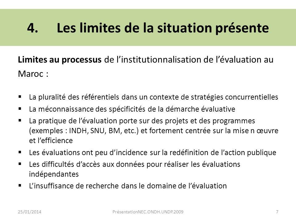 Limites au processus de linstitutionnalisation de lévaluation au Maroc : La pluralité des référentiels dans un contexte de stratégies concurrentielles