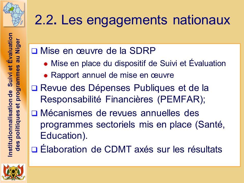 Institutionnalisation de Suivi et Évaluation des politiques et programmes au Niger 2.2. Les engagements nationaux Mise en œuvre de la SDRP Mise en pla