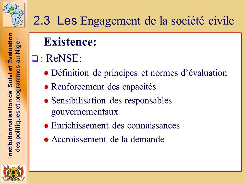 Institutionnalisation de Suivi et Évaluation des politiques et programmes au Niger 2.3 Les Engagement de la société civile Existence: : ReNSE: Définit