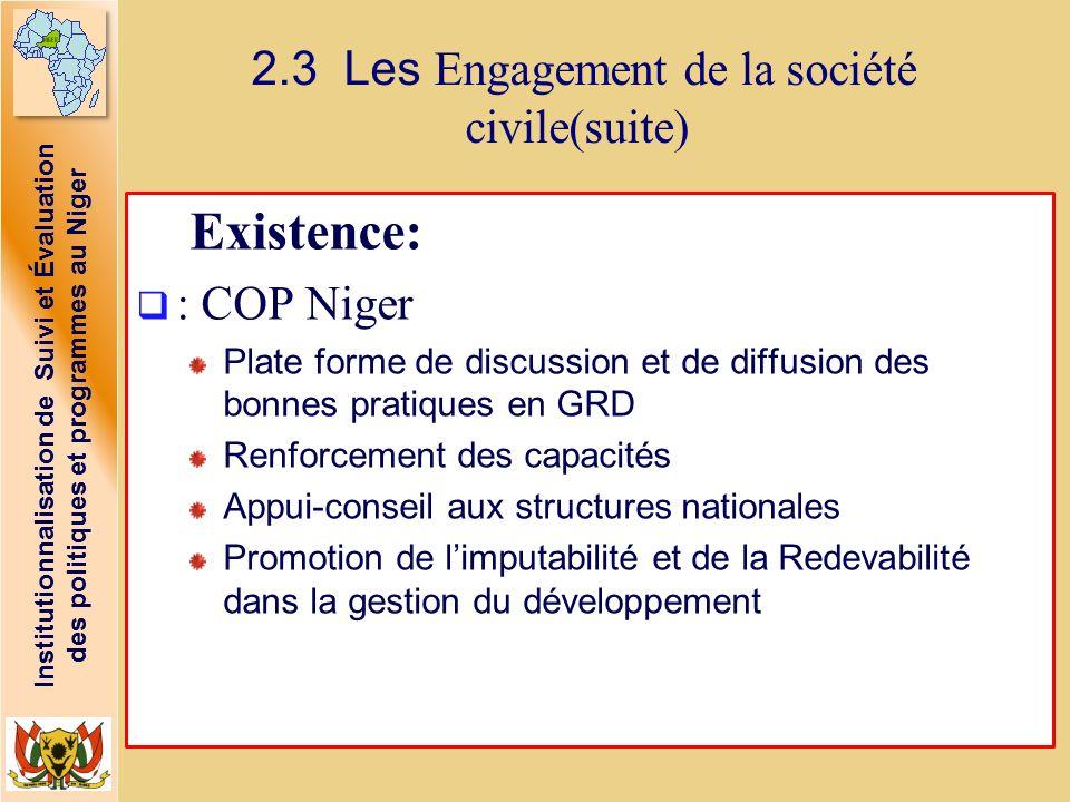Institutionnalisation de Suivi et Évaluation des politiques et programmes au Niger 2.3 Les Engagement de la société civile(suite) Existence: : COP Nig