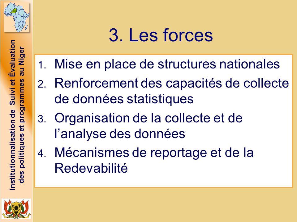Institutionnalisation de Suivi et Évaluation des politiques et programmes au Niger 3. Les forces 1. Mise en place de structures nationales 2. Renforce