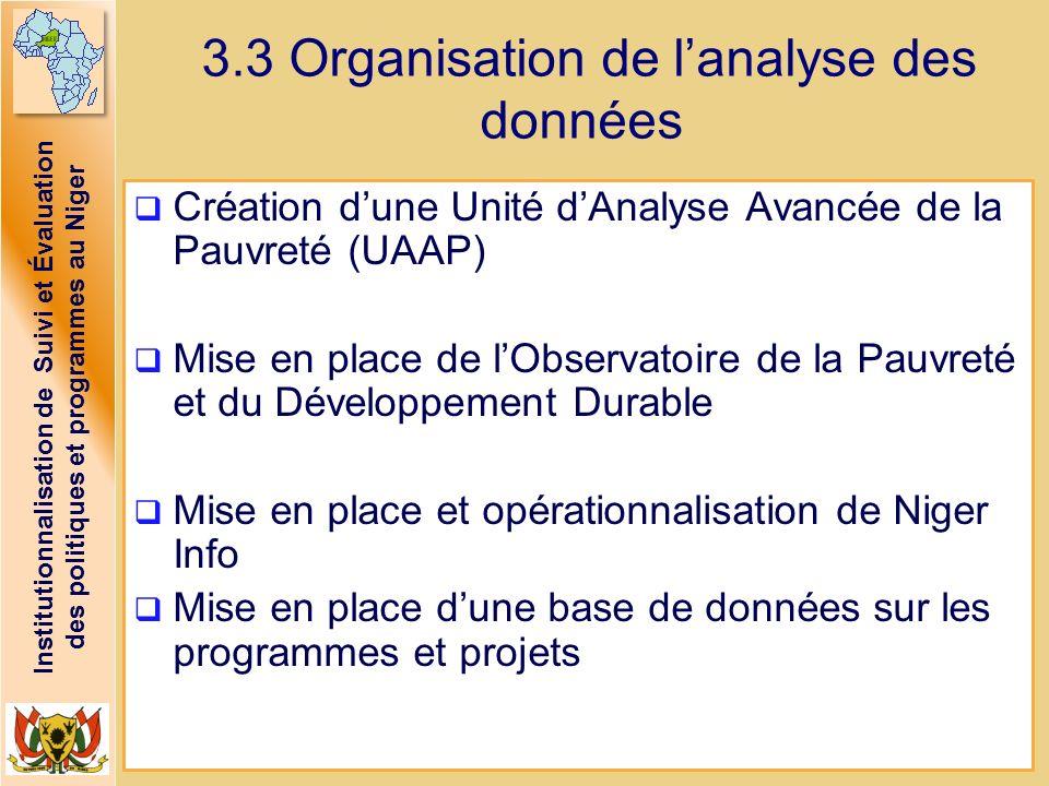 Institutionnalisation de Suivi et Évaluation des politiques et programmes au Niger 3.3 Organisation de lanalyse des données Création dune Unité dAnaly