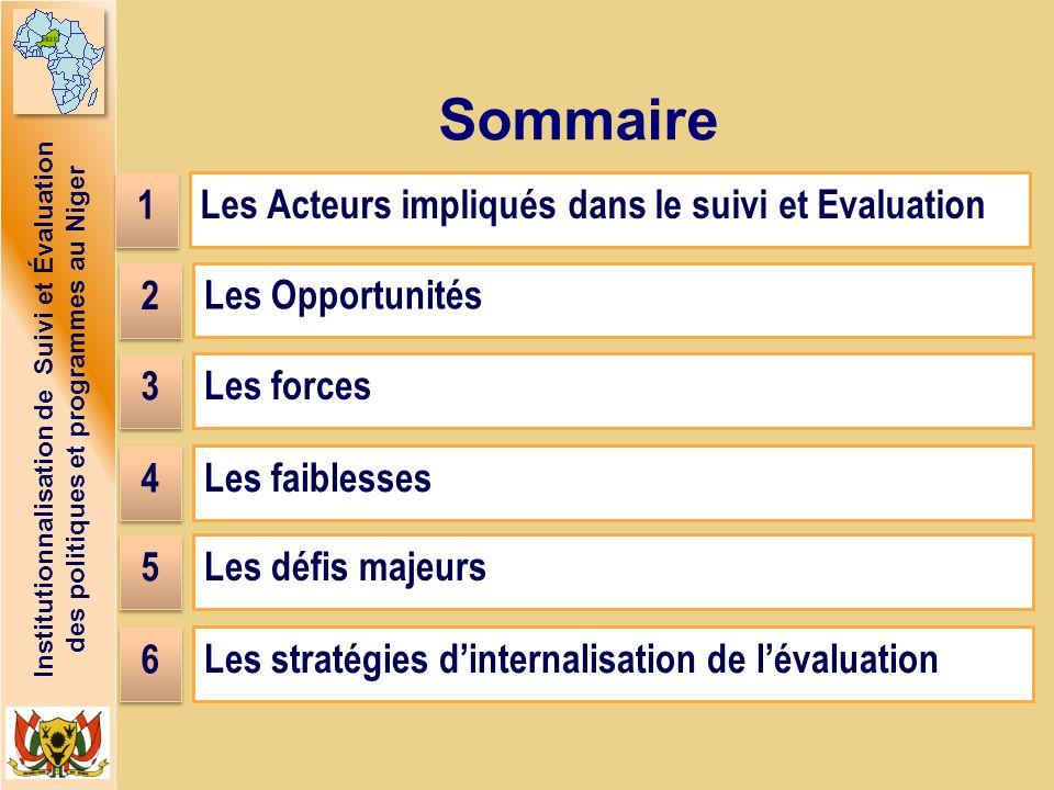 Institutionnalisation de Suivi et Évaluation des politiques et programmes au Niger Sommaire Les Acteurs impliqués dans le suivi et Evaluation Les Oppo
