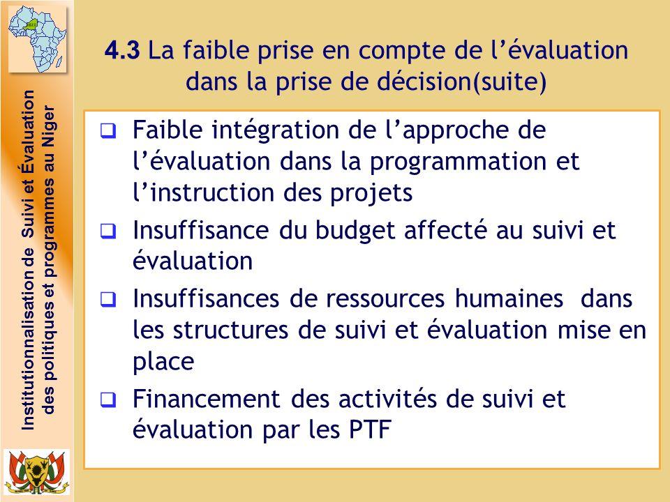 Institutionnalisation de Suivi et Évaluation des politiques et programmes au Niger 4.3 La faible prise en compte de lévaluation dans la prise de décis