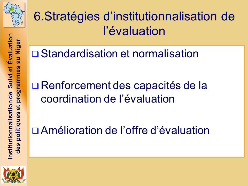 Institutionnalisation de Suivi et Évaluation des politiques et programmes au Niger 6.Stratégies dinstitutionnalisation de lévaluation Standardisation