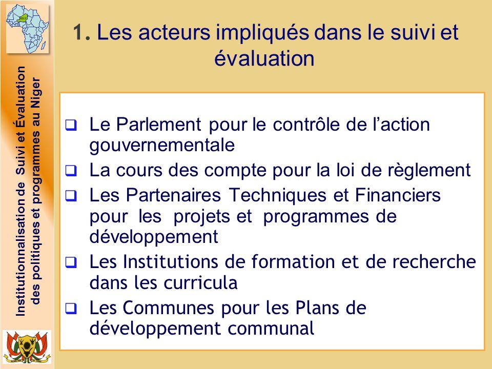 Institutionnalisation de Suivi et Évaluation des politiques et programmes au Niger 1. Les acteurs impliqués dans le suivi et évaluation Le Parlement p